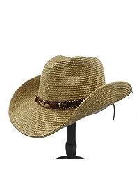 Summer Straw Women Men Hollow Western Cowboy Hat With Fashion Leather Visor Cap Fashion hats&caps (Color : 1, Size : 57cm-59cm)