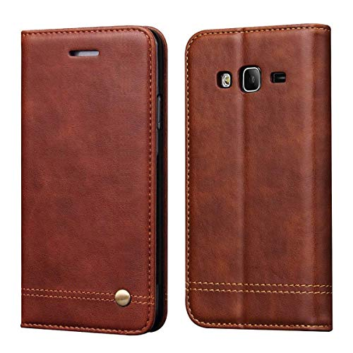 Galaxy J2 Prime Case,Galaxy Grand Prime Case,RUIHUI Leather Wallet Folding Flip Protective Case Cover with Card Slots,Kickstand,Magnetic Closure for Samsung Galaxy Grand Prime G530/J2 Prime (Brown) ()