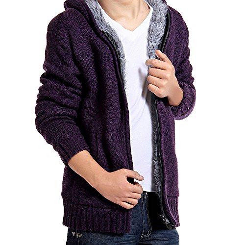 Winter Men's Knitted Hooded Long Hoodies HARRYSTORE Sleeve Full Zip Plus Jacket up Wool Coats Warm Purple Cardigan Fleece Sweaters Classic ZqddPw8xB