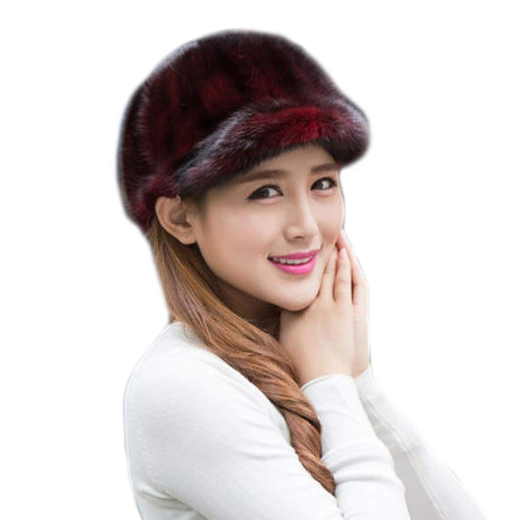 Real Mink Fur Hand-Made Hat Cap for Both Women and Men with Visor (Wine Red)
