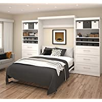 Bestar Furniture 26886-17 Pur 136 Queen Wall Bed Kit Including Two Doors and Six Drawers with Simple Pulls in