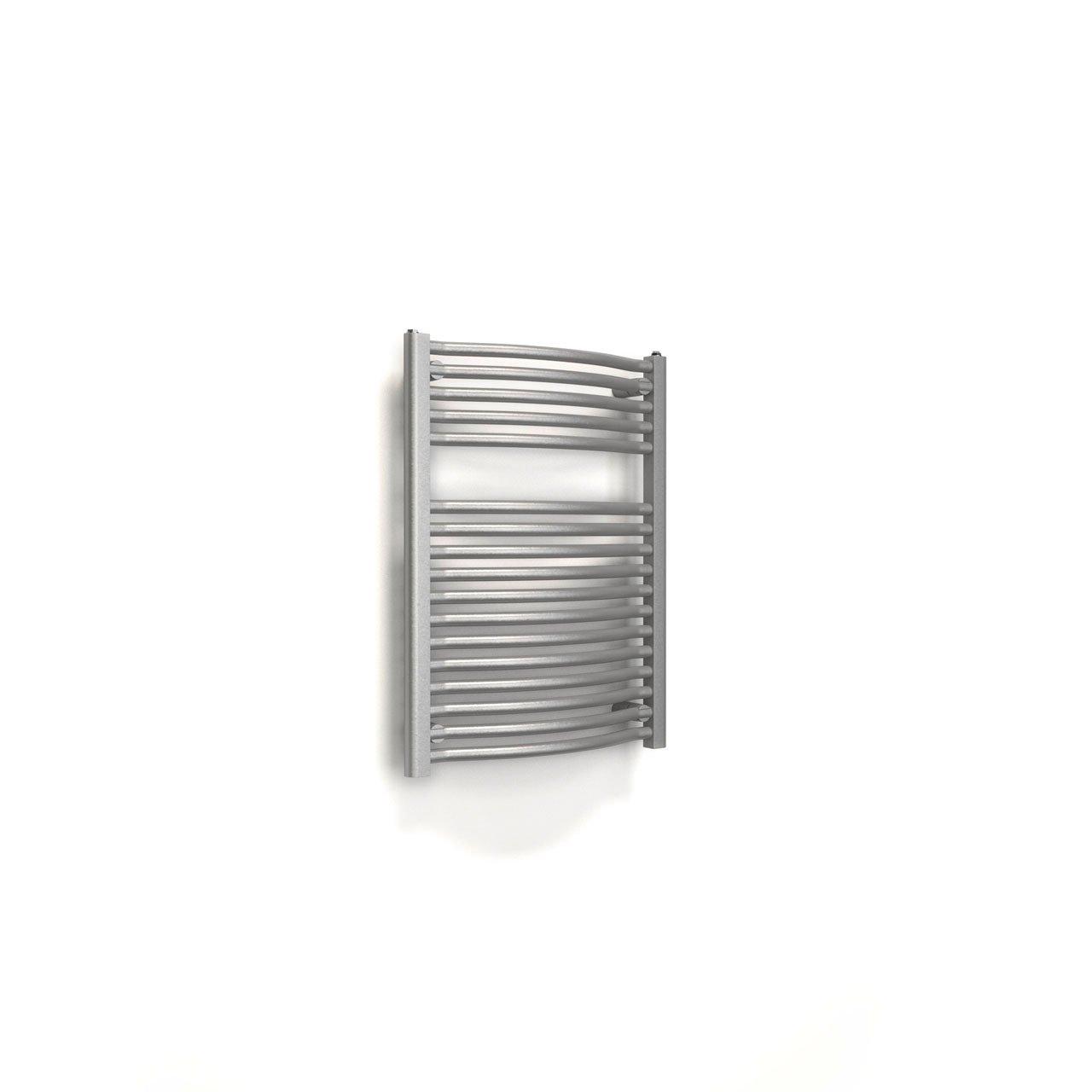 Bad-Heizk/örper Verona Design-Heizk/örper f/ür Zweirohrsysteme silber-metallic 538 Watt Leistung Anschluss unten 77x60 cm gebogen