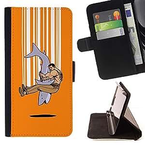 Momo Phone Case / Flip Funda de Cuero Case Cover - Shark Hombre Fuerte Arte Tough Abrazo Amistad - Samsung Galaxy S6