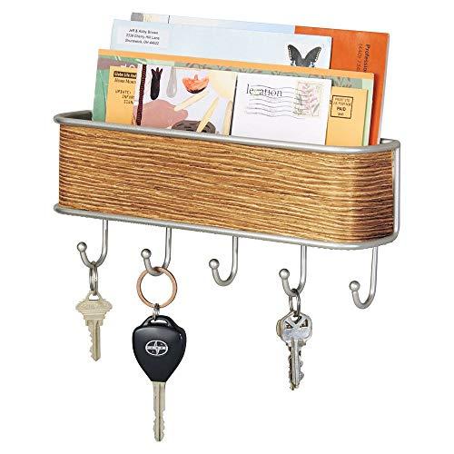 (mDesign Wall Mount Metal Mail Organizer Storage Basket - 5 Hooks - for Entryway, Mudroom, Hallway, Kitchen, Office - Holds Letters, Magazines, Coats, Keys - Satin/Teak Wood Finish)