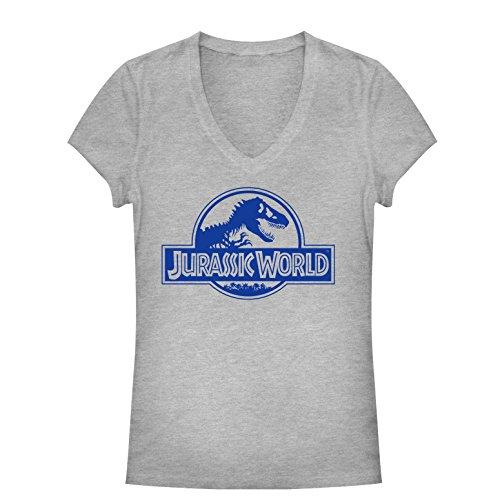 Jurassic World Juniors' Simple T. Rex Logo Athletic Heather V-Neck T-Shirt Carnivore T-rex Juniors T-shirt