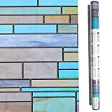 Niviy Privacy Window Covering Brick Stained Glass Window Film Waterproof Static Window Cling, 17.7'' by 78.7'' No Adhesive Glass Window Decor for Bathroom/Kids Room/Sliding Door, 1 Roll