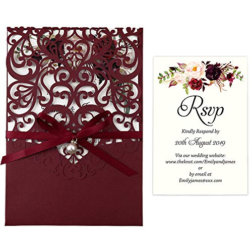 DreamBuilt 4.7X7 Inch 50PCS Blank Laser Cut Burgundy Wedding Invitations With Rsvp Cards And Envelopes And Ribbon Belly Band Pearl Embellishments Wedding Invitation Cards For Wedding Invite