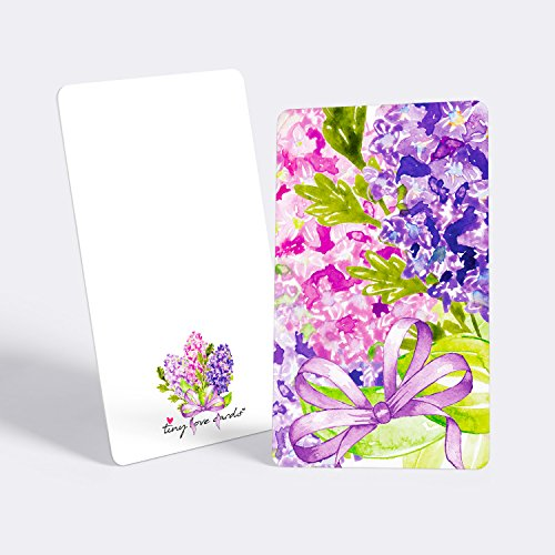"Tiny Love Cards - Set of 85 Cute BLANK Mini Cards for Hand-Written notes - ANY Occasion - 2"" x 3.5"", Small Note Cards (Flowers: Lilac) - Lilac Card"