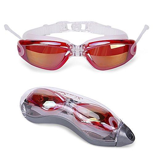 Baen Sendi Swimming Goggles with Siamese Ear Plugs - UV Protection Anti Fog - Best Adult Swim Goggles (Claret)