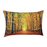 Collections Etc Fall Leaves Open Woods Scene Throw Pillow, Home Décor Accents, 23 x 15 inches