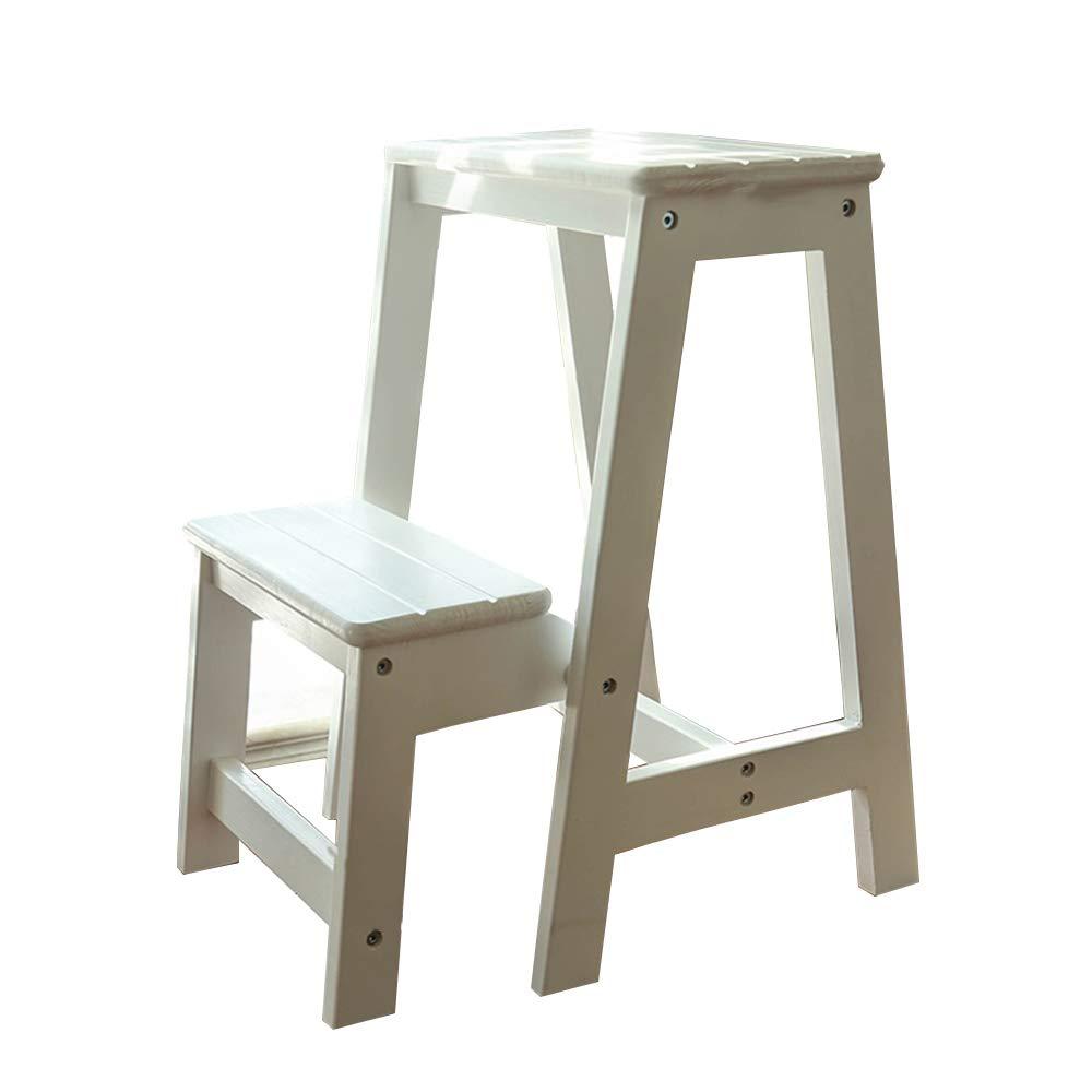 JJJJD ソリッドウッドステップのはしごの厚い折り畳み小さなステップ階段の椅子昇順のスツール B07RW42W1H
