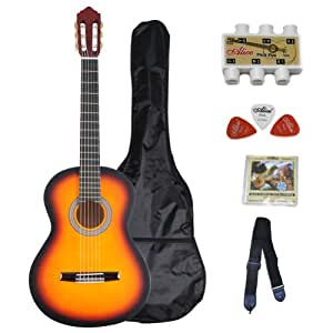 adm 39 inch student beginner guitar sunburst matte nylon string classical guitar. Black Bedroom Furniture Sets. Home Design Ideas