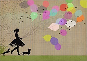 Posterlounge Alu Dibond 40 x 30 cm: Girl with Balloons di Elisandra Sevenstar