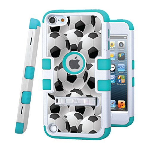 iPod Touch 5/6 Case, CASECREATOR[TM] for Apple iPod Touch 5th / 6th GEN () - TUFF Hybrid Rubber Hard Snap-on Case White/Tropical Teal-Soccer Balls (Ipod 4 Touch Army Case)