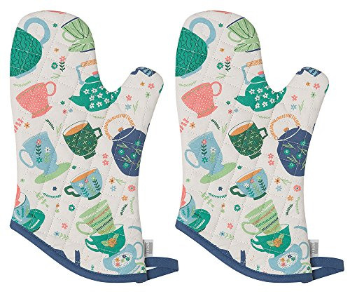 Now Designs 805890aa Basic Oven Mitt, Set of Two, Perfect Cuppa 2 Piece ()