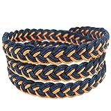 LUN NA Bracelet Men Women 3 Wrap Thai Boxing Outdoor Buddha Fashion Style Black Orange Cotton String Adjuastable