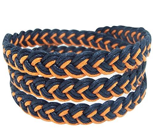 NA RIN Bracelet Men Women Classic Thai Boxing Outdoor Cotton String 3 Wrap Black Orange Adjuastable