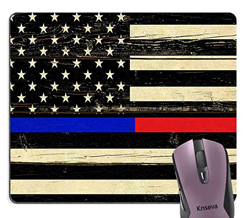 Knseva Vintage American Flag Rustic Wood USA Flag Mouse Pad, Thin Blue Line Police Thin Red Line Firefighter Respect Honor Law Enforcement First Responder Mouse Pads