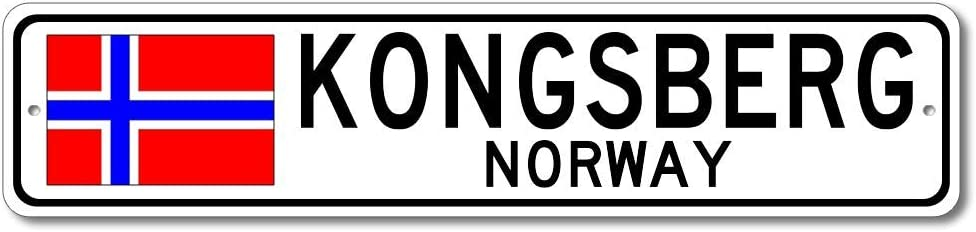 Kongsberg, Norway - Norwegian Flag Street Sign - Metal Novelty Sign for Home Decoration, Personalized Gift Sign, Man Cave Sign, Street Sign, Norway City Sign, Made in USA - 4x18 inches