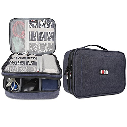 BUBM Electronic Organizer, Double Layer Travel Accessories Storage Bag for Cord, Adapter, battery, Camera and More-a Sleeve Pouch for iPad or up to 9.7'' Tablet(Large, Dark Blue) by BUBM