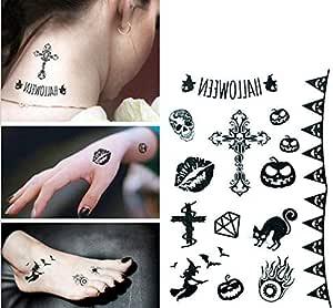 Large New Design Halloween Horrible Black Cat Cross Kiss Skull Body Art Temporary Tattoo