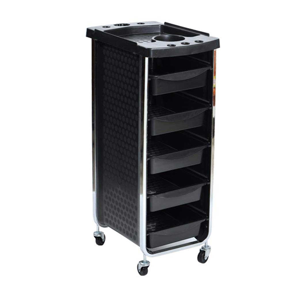 Beauty Storage Trolley Hairdresser Maintenance Carts Barber Shop Multi-Function Drawers Trolleys Hair Salon Perm Hair Dyeing Styling with Wheel Tool Car Black