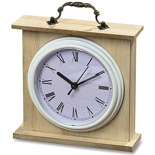 The Americana Iconic Heritage Home White Analog Clock, Quartz Movement, Glass Wood, Metal, and Plastic, 6 x 6 Inches, 1AA Battery Required, By Whole House Worlds World Time Tabletop Clocks