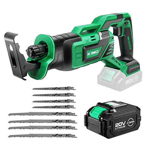 "KIMO 20V 4.0Ah Li-ion Brushless Cordless Reciprocating Saw w/Battery & 1 Hour Fast Charger, 1"" Stroke Length, Variable Speed, 8 Saw Blades for Wood/Metal/PVC Pipe Cutting, Demolition, Tree Trimming"