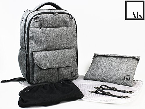 ArtAK Unisex Baby Diaper Backpack Bag | Weekend, Gym, School and Laptop Computer | Includes Carryon & Stroller Straps, Zipper Pouch, Detachable Mesh Bag, Changing Pad, Insulated Pockets | AMZ GREY