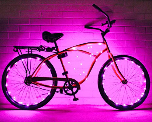 Bike Wheel / Lights - Colorful Light Accessory For Bike - Perfect For Burning Man / Christmas Gift (Pink)