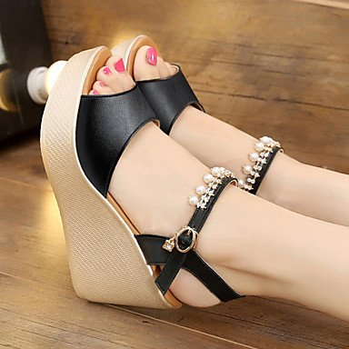 Summer US6 Light 5 5 UK4 Women'S Light Sandals Microfiber White Soles 2 CN37 3 Casual RTRY 4In Pu EU37 Black 7 2In Soles 5 Synthetic Tz0xgUg