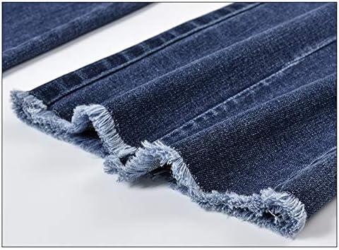 SANJIBAO Jeans Evasé Pantalon Branché pour Femmes Taille Moyenne Elastique Bords Bruts Casual Pants Trousers
