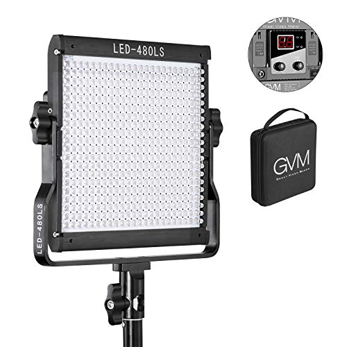 - GVM 480 LED Video Panel Light Dimmable Bi-Color Camera Light in Metal Housing with Digital Readout for Studio, YouTube Outdoor Video Photography Lighting Kit 2300K~6800K, CRI97+ TLCI97 +