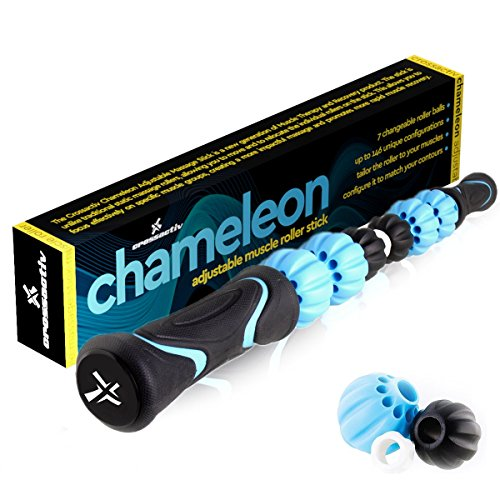 Chameleon Changeable Massage Stick Muscle Roller - Adjust the Rollers to your unique legs, calf, foot, or back muscles! Cramp, soreness, tension relief. Rubber handles, smooth plus Quickstart Guide!