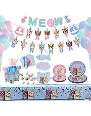 مجموعة زينة ولوازم حفلات بتصميم قطط مكونة من 210 قطعة من يو هوم، ادوات تناول طعام صغيرة للاستعمال لمرة واحدة مع لافتة عيد ميلاد سعيد وصحون حلوى ومناديل واكواب وسكاكين للكيك - مناسبة لـ20 شخص