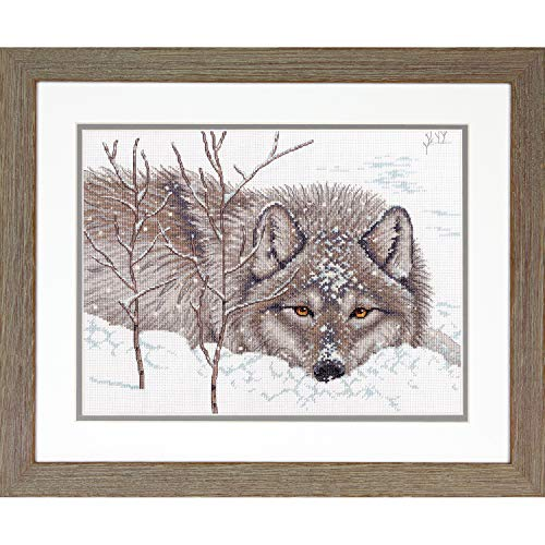 """Dimensions 70-35377 Wolf in Snow Cross Stitch Kit, 14 Count White Aida Cloth, 14"""" x 14"""" - $13.98"""