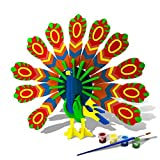 Bfun Woodcraft 3D Puzzle Assemble and Paint DIY Toy Kit, Peacock