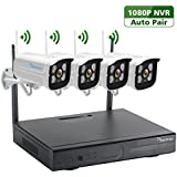 Wireless Security Camera System, Amorvue Full-HD 8CH Video Security System with 4pcs 720p Wireless Security Cameras,65foot Night Vision,Auto-Pair Plug and Play