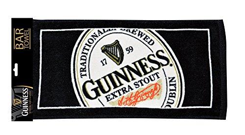 Guinness English Label Bar Towel - Cotton Black Hand Towel