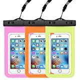 AndHot Water Proof iPhone 6s/6s Plus Phone Case, 3 Pack Waterproof Phone Pouch Dustproof Snowproof Dry Bag for iPhone X 8 7 Plus, Samsung Galaxy S9 S8 Plus S7 S6 Note 8 J7 J3 Google Pixel XL LG V20