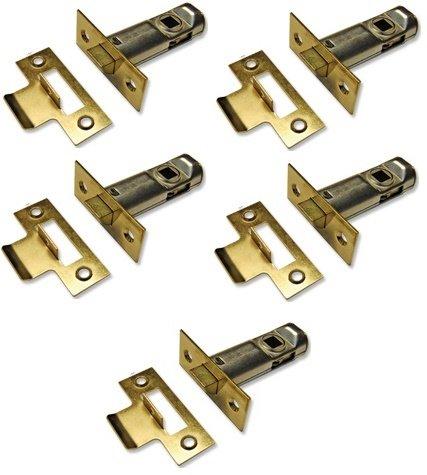 5 juegos de alta calidad con resbaló n Tubular Latch, puerta de, diseñ ado para ser utilizado con muelles tirador de puerta asas, CE aprobado (65 mm, 2.1/2 '(lató n pulido) CE aprobado (65mm 2.1/2(latón pulido) List