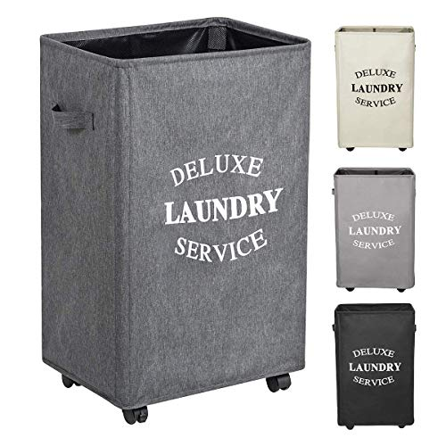 (WOWLIVE Large Rolling Laundry Hamper Basket with Wheels Durable Dirty Clothes Bag Collapsible Rectangular Washing bin (Grey2))
