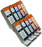 10 Chipped Compatible High-Capacity Canon PGI-525 & CLI-526 Ink Cartridges for Canon Pixma MX882