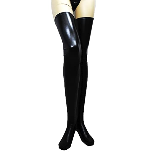 1b712742ce1d4 Women Lady Thigh High Stockings Sexy Leather Long Socks Temptation Hosiery  Hanican, Black
