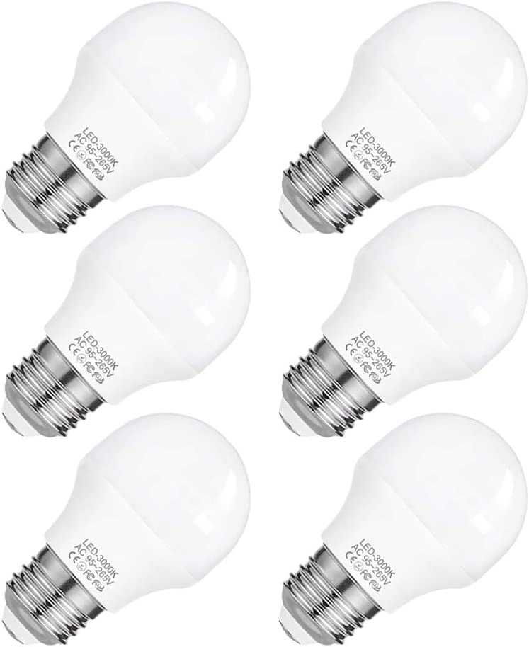 A15 Appliance Light Bulb, 4W LED Bulb Replace 40W Refrigerator Light Bulb, 120V 385 Lumens 3000K Medium Base Bulb, 6 Pack