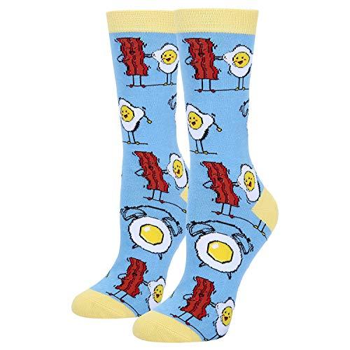 Women's Funny Novelty Crew Socks Crazy Food Emoji Fried Eggs Bacon Dress Socks in Blue ()