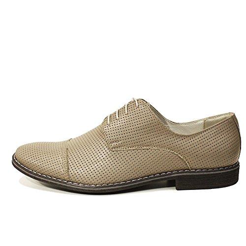 PeppeShoes Modello Simone - Cuero Italiano Hecho A Mano Hombre Piel Gris Zapatos Vestir Oxfords - Cuero Cuero Repujado - Encaje