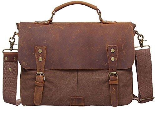 Valuker 1807ka Satchel hombre maletín de cuero bolso de la cartera del bolso de hombro del cuero genuino del bolso del mensajero del bolso de la manija del bolso de cuero marron
