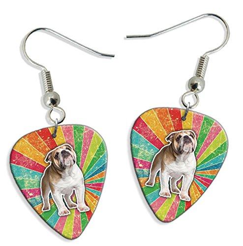 Bulldog Rainbow 2 X Logo Guitar Pick Earrings (GD)