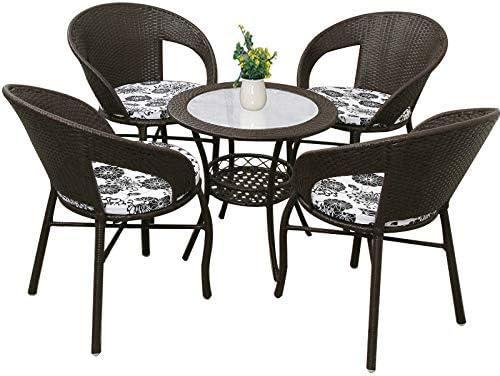 YIKUI Silla, Mesa, Interior PE Rattan Silla Tejida, Eco Friendly-Tabla Ocio y Juego de sillas, adecuados para el hogar/jardín (Color café Oscuro 1 Mesa 4 sillas): Amazon.es: Hogar